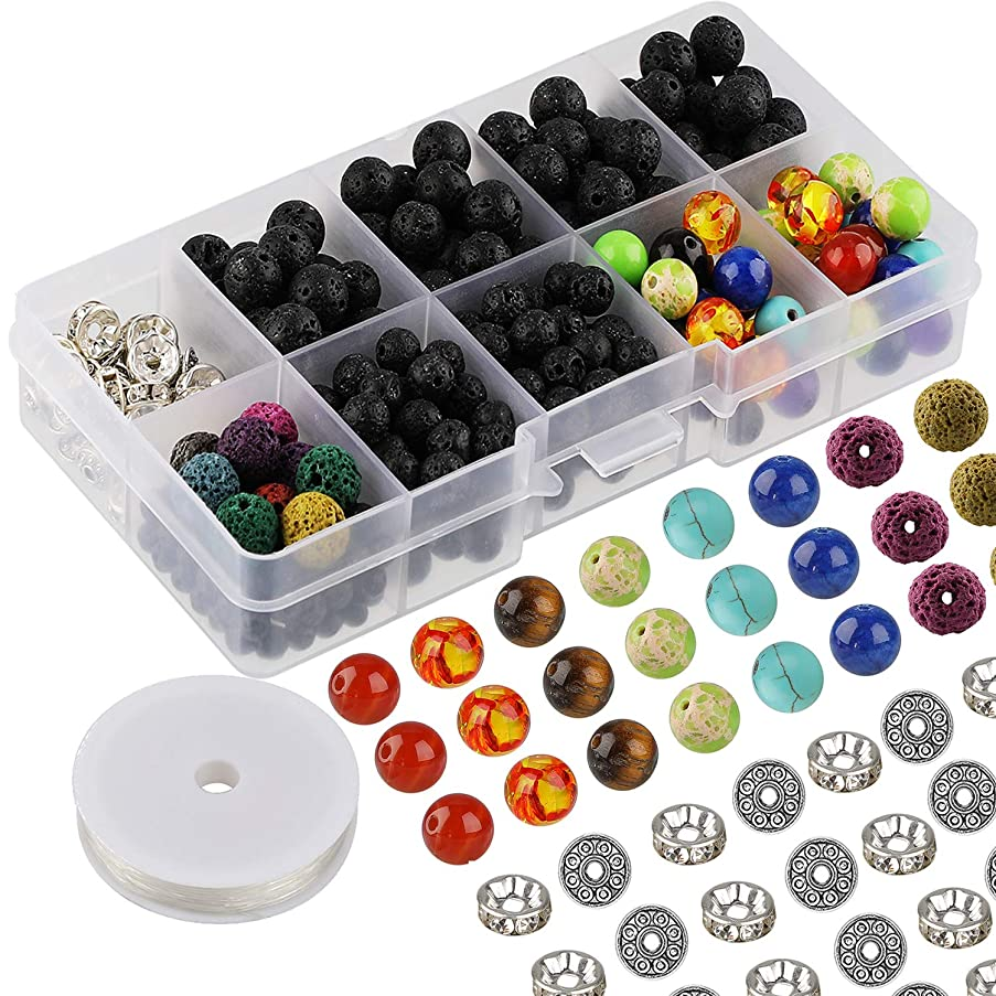 AKWOX 400pcs Lava Beads Stone Rock with Chakra Beads and Spacer Beads for Essential Oil and Jewelry Making with Crystal String