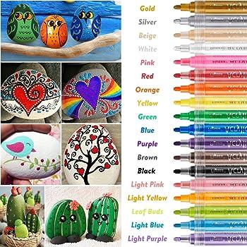 vetro e altro Pennarelli acrilici premium e set per dipingere su pietre Set pennarelli artistici Set colori pennarelli professionali indelebili Con punta reversibile piatta o tonda da 3-5mm
