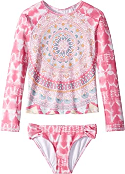 Medallion Madness Long Sleeve Rashguard Set (Little Kids/Big Kids)