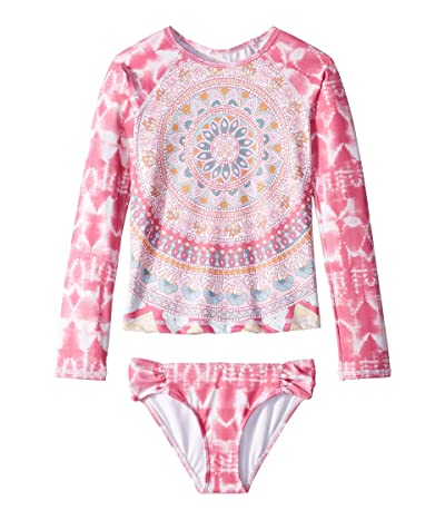 Billabong Kids Medallion Madness Long Sleeve Rashguard Set (Little Kids/Big Kids) (Tahiti Pink) Girl