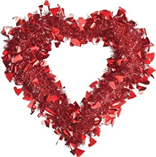 Amscan Red Tinsel Heart Wreath 15 1/2 x 15in Inches