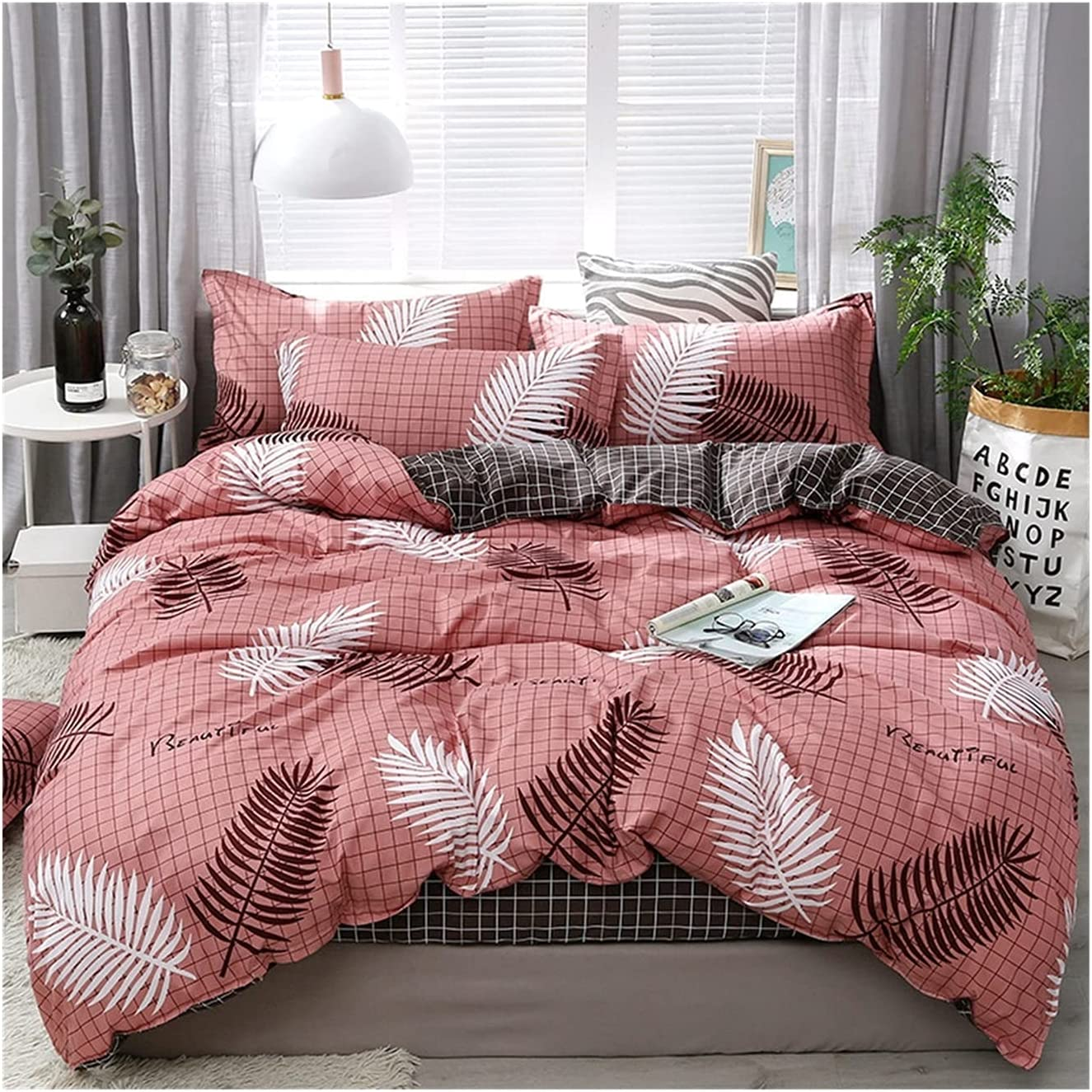 LSDJ Max 63% OFF QMDSH Home Textile Girl Bedding Duvet Cover Set Spring new work one after another Peach Pink