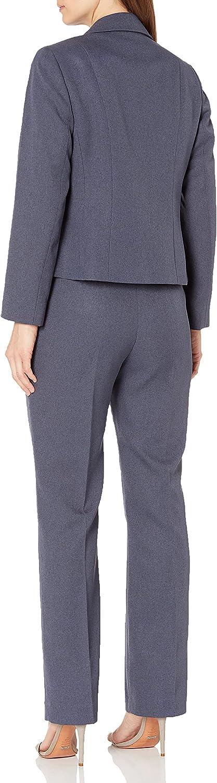 Le Suit Women's 2 Button Notch Collar Twill Melange Pant Suit