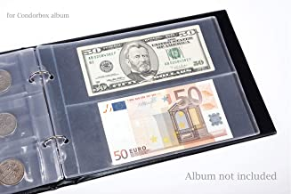 CONDORBOX Paper Money Holder Plastic Protectors Sleeves 10 Pages 20 Pockets Dollar Bill Currency Collection Supplies Protector 3.14'' x 8'' for Condorbox Binder Album