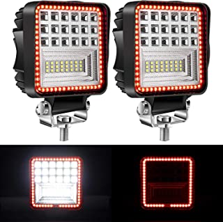 Yorkim Offroad 4x4 Led Fog Lights Red & White Combo Surrounding-Shape with Flash Strobe, Offroad Led Pod Light Cube, Offroad Led Flood Lights, 4x4 Led Spot Lights For Truck Jeep SUV