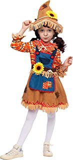 Sunflower Sweet Scarecrow Costume for Girls Kids Farmer