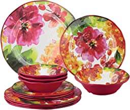 Gourmet Art 12-Piece Pink Floral Heavyweight and Durable Melamine Dinnerware Set, Service for 4. Includes Dinner Plates, S...
