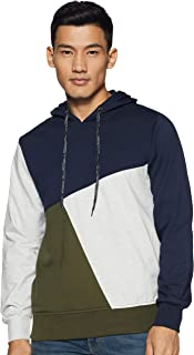 WOKNIT Men's Hooded Cotton Color Block Sweatshirt