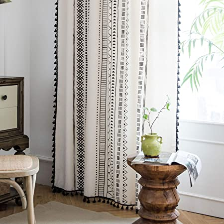 Amazon Com Lahome Boho Cotton Linen Tassel Window Curtains Set Of 2 Farmhouse Geometric Curtain Panels Rod Pocket Semi Blackout Country Style Window Treatment For Living Dining Room 52 W X 84 L Kitchen Dining