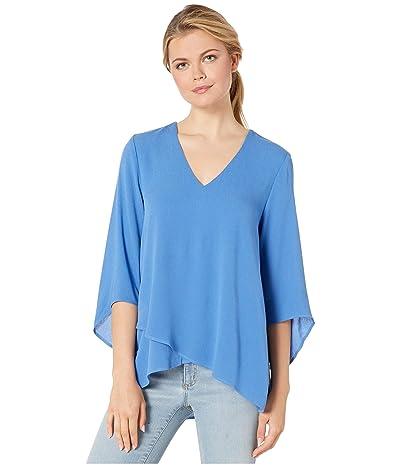 Karen Kane Bracelet Sleeve Asymmetric Top (Tile Blue) Women