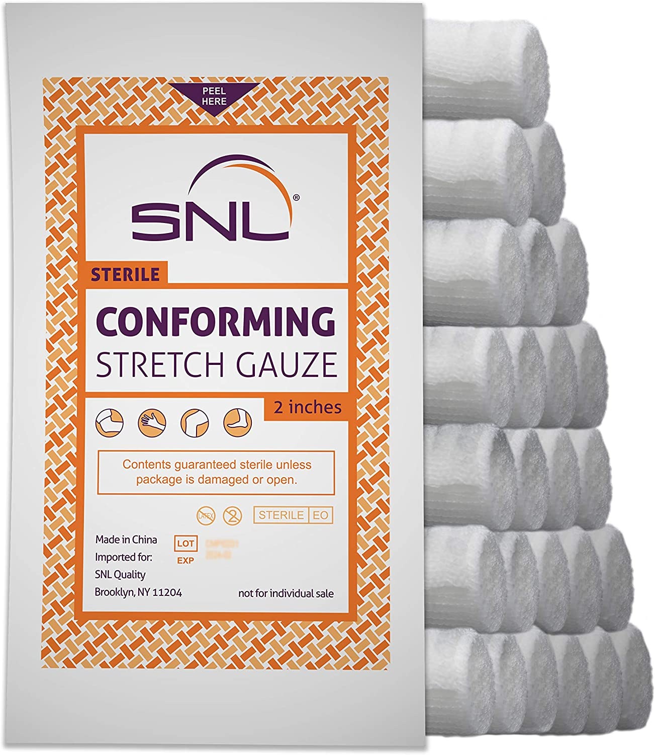 Today's 4 years warranty only SNL Quality Sterile 2 inch x Conforming S Latex Yard 4.1 Free