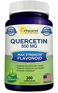 Quercetin 500mg Supplement - 200 Capsules - Quercetin Dihydrate to Support Cardiovascular Health - Max Strength Powder Com...