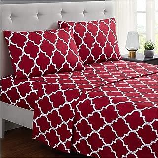 Mellanni Bed Sheet Set Queen - Brushed Microfiber Printed Bedding - Deep Pocket, Wrinkle, Fade, Stain Resistant - 4 Piece (Queen, Quatrefoil Burgundy - Red)