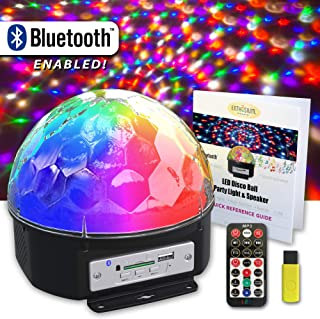 Enthusium Disco Party Light Bluetooth Speaker 9 Color LED Rotating Sound Activated Strobe with Remote & Quick Reference Guide Magical Lighting for Weddings Parties Bedroom