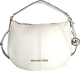 Michael Kors Women's Bedford, Leather Material, Medium Crescent Hobo Shoulder Bag - Optic White