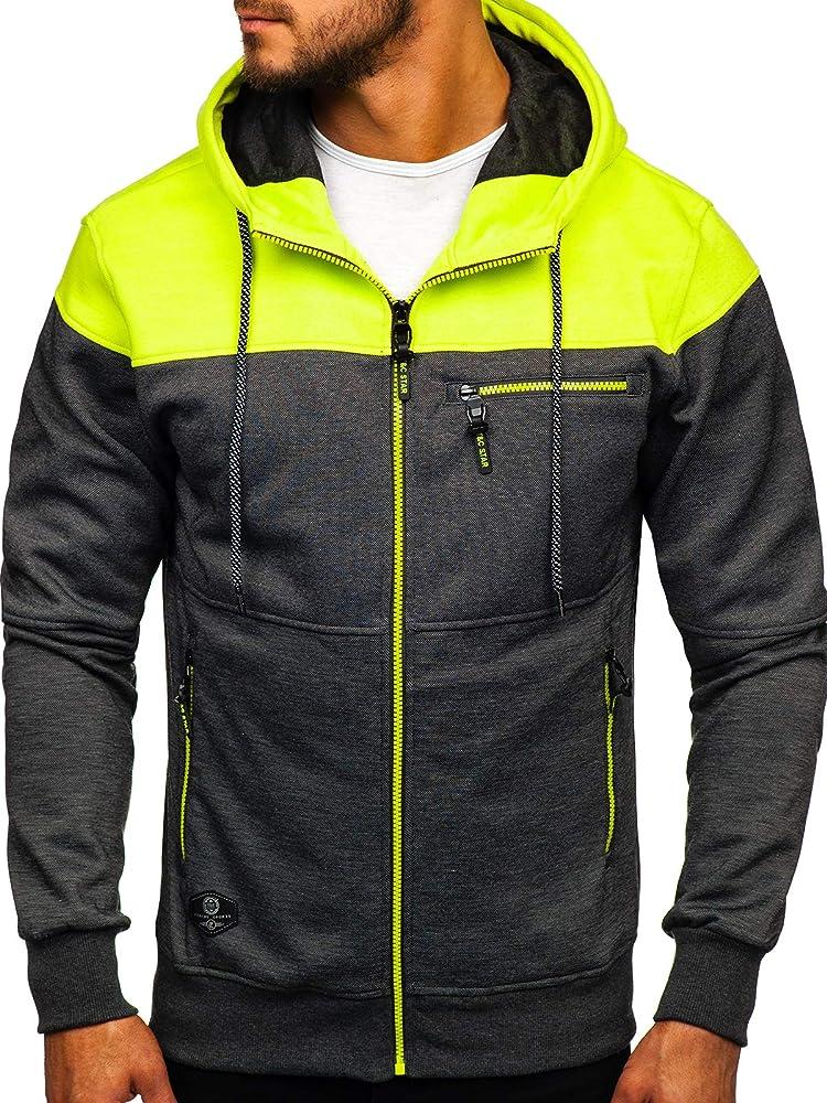Bolf, felpa con cappuccio per uomo,con chiusura  a zip,65% cotone, 35% poliestere X-FEEL 33101