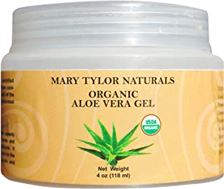 Organic Aloe Vera Gel (4 oz), USDA Certified by Mary Tylor Naturals, Premium Grade, Natural and Cold Pressed - For Face, Skin, Hair, Sun Burns, Damaged Skin and Acne