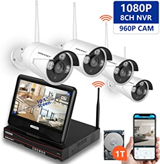 [All-in-One&Expandable System] Security Camera System Wireless,SMONET Full HD 8CH 1080P Video Security System with 1TB HDD,4pcs 960P Wireless IP Cameras,with 10.1inches Monitor,P2P,Easy Remote View