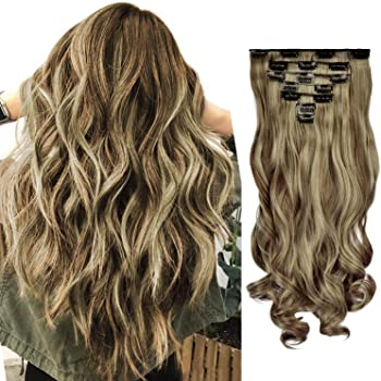 FESHFEN Clip in Hair Extensions 7 PCS Full Head 20 inch Curly Wave Synthetic Clip Hair Piece Wavy Hairpiece for Women Girls, Brown & Blonde