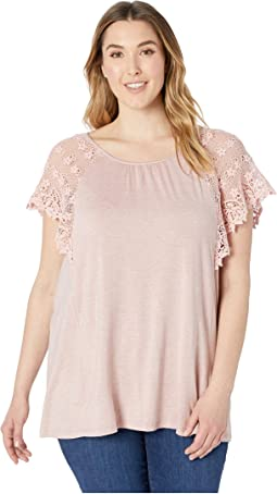 Plus Size Marina Lace Sleeve Top