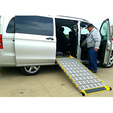 Roll A Ramp 6 X 26 Powered Mini Fold Van Wheelchair Ramps 1000 Lbs Capacity With Wireless Remote Health Personal Care