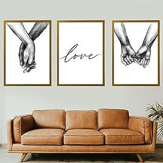 Quadro Moderno - Mani che si stringono intrecciate Love - con Cornice - Verticale 3 Pezzi - varie dimensioni vari colori M...