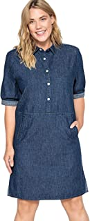 Castaluna Women's Plus Size Denim Snap Front Shirtdress