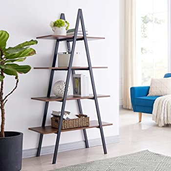 Glitzhome 4-Tier Wood Ladder Bookcase Modern A Frame Ladder Display Shelf A Shape Industrial Display Shelf Ladder Storage Rack Freestanding Bookshelf with Metal Frame for Home Office-Brown/Black