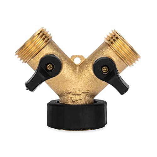 Camco Stainless Steel Solid Brass Water Wye Valve- Easy Grip Valve Handles and Simple Water Hose Connection CSA Low Lead Certified - (20123)