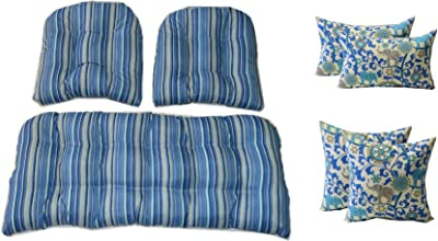 Amazon.com: Mimbre cojines y almohadas 7 PC Set – Azul ...