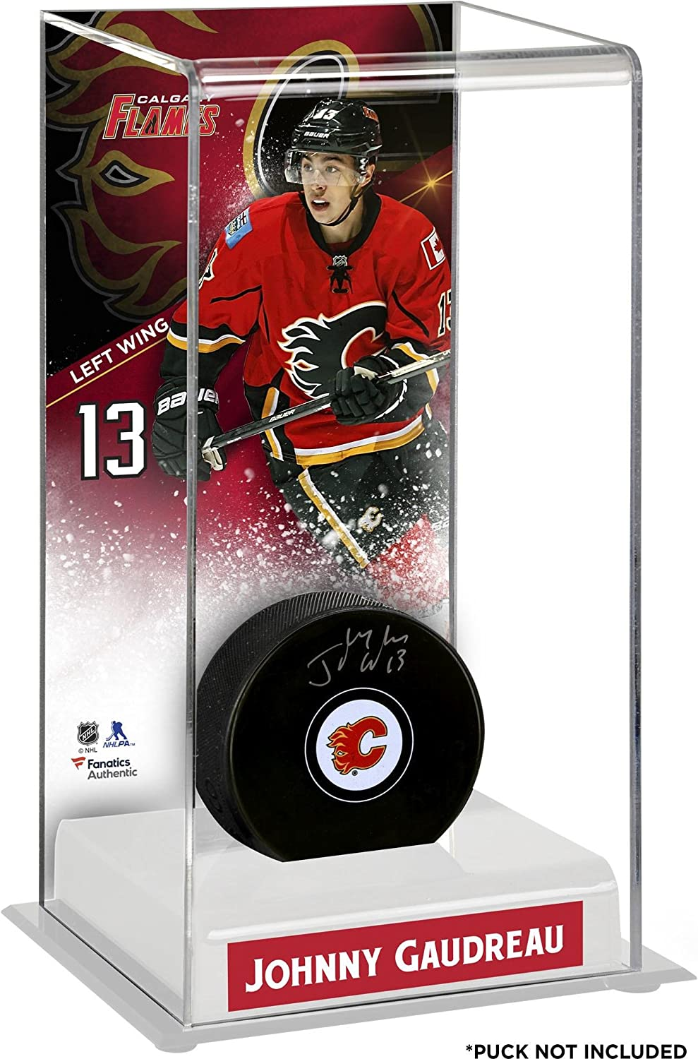 Johnny Gaudreau Calgary Flames Deluxe Tall Hockey Puck Case  Fanatics Authentic Certified  Hockey Puck Display Cases No Logo