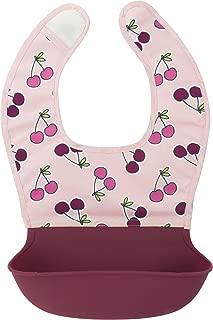 Kushies Silisoft Comfort Fabric Top, Silicone Pocket Waterproof Feeding Bib, Pink Cherries, 6m+