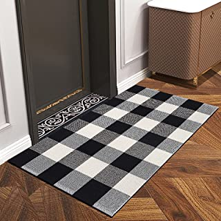 HIPPIH Indoor Outdoor Doormat with Latex Backing, Entryway Welcome Mats, Cotton Plaid Entrance Rug Shoes Scraper, Low-Prof...