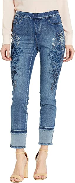 Statement Denim Ombre Floral and Hem Detail Pull-On Ankle in Blue Denim