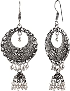 Boho Vintage Antique Ethnic Gypsy Tribal Indian Oxidized Silver Black Chandbali Jhumka Earrings Jewelry