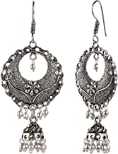 Efulgenz Boho Vintage Antique Ethnic Gypsy Tribal Indian Oxidized Silver Black Chandbali Jhumka Earrings Jewelry