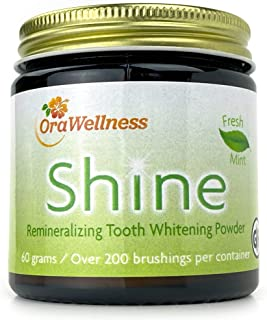 OraWellness Shine Remineralizing Natural Teeth Whitening Powder, Tooth Stain Remover and Polisher with Kaolin Clay Powder,...