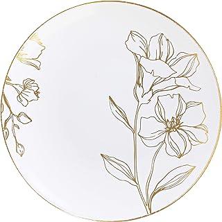 [15.24 سم، 40 قطع] أطباق حفلات بتصميم زهور بلاستيكية بيضاء مع حواف ذهبية فاخرة أنيقة وثقيلة الوزن للاستخدام مرة واحدة