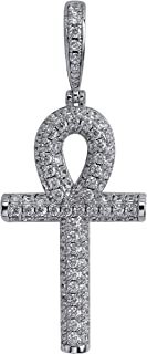 14K Gold Plated Fully Iced Out CZ Simulated Diamond Egyptian Ankh Cross Hip Hop Pendant Necklace