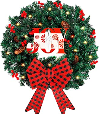 Funarty Artificial Christmas Wreath and 50 LED Lights, 24 Inches Winter Wreath with Bowknot for Christmas Party Home Frontdoo