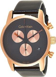 ساعة كوارتز بعرض كرونوغراف بسوار جلدي للرجال من كالفن كلاين، لون اسود، موديل K2G17TC1