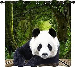 Panda Gordijn, Aziatische Chinese Wild Animal Bear Geïsoleerd Gordijn Home Versier Raamgordijnen 2 panel set W 52 l 84