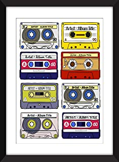 Favourite Albums - Personalised Unframed Cassette Print - Perfect Gift Idea/Álbumes favoritos - Impresión de casete sin ma...