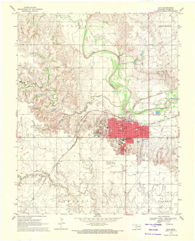 YellowMaps Max 73% OFF Alva OK topo map 1:24000 7.5 X Scale Minute Sale item Hi