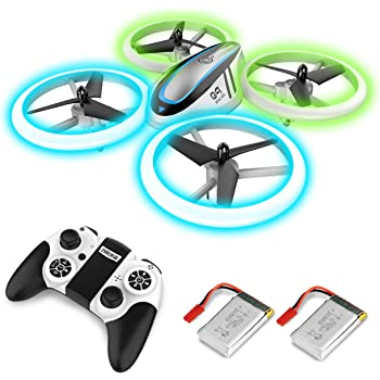 Q9 Drones for Kids,RC Drone with Altitude Hold and Headless Mode,Quadcopter with Blue & Green Light,Propeller Full Protect,2 Batteries and Remote Control,Easy to fly Kids Gifts Toys for Boys and Girls