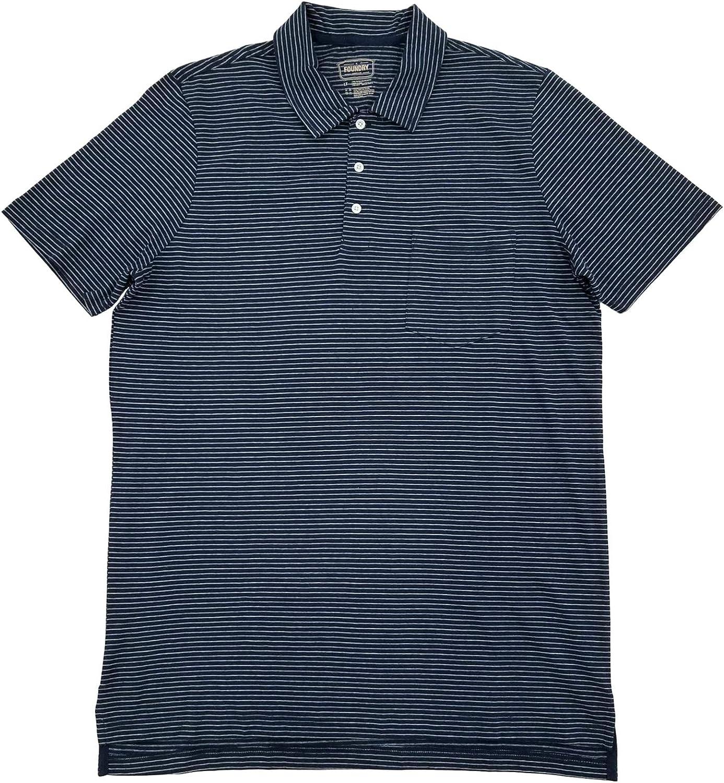 The Foundry Mens Big & Tall Navy Gray Stripe Short Sleeve Polo T-Shirt 2XL