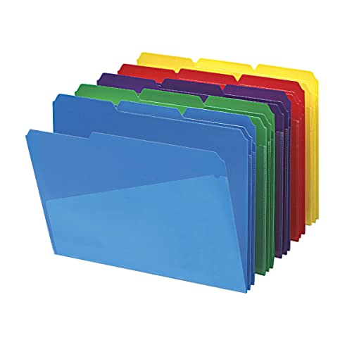 Smead Slash Pocket Poly File Folders, 1/3-Cut Tab, Letter Size, Assorted Colors, 30 per Box (10540)