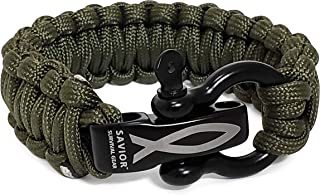 Savior Survival Gear Paracord Bracelet with Stainless Steel Adjustable Shackle