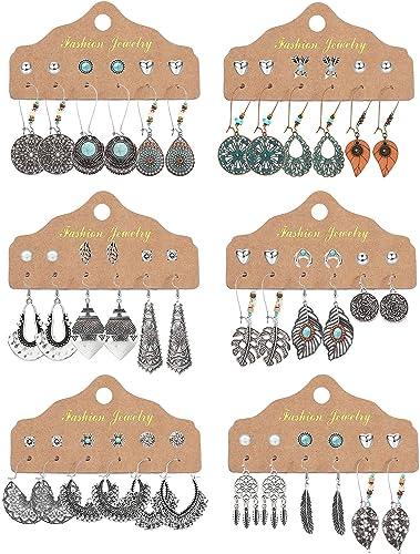 CASSIECA 24-36 Paires de Boucles d'oreilles Pendantes Bijoux Fantaisie Mode pour Femmes Filles Boucles d'oreilles Boh...