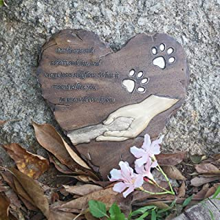 jinhuoba New York Dog Memorial Stone, Hand-Printed Heart-Shaped Personalized Loss of Pet Gifts Dog with Sympathy Poem and Paw in Hand Design, (Brown)